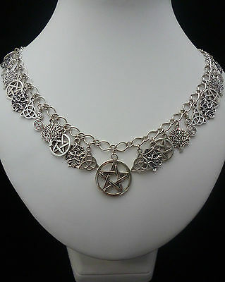 Silver Green Man Pentagram Triquetra Spiral of Life Charm Necklace Wiccan