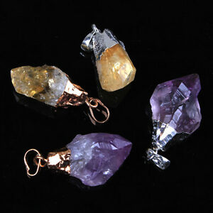 Natural-Durzy-Amethyst-Yellow-Quartz-Crystal-Stone-Random-Form-Pendant-Jewelry