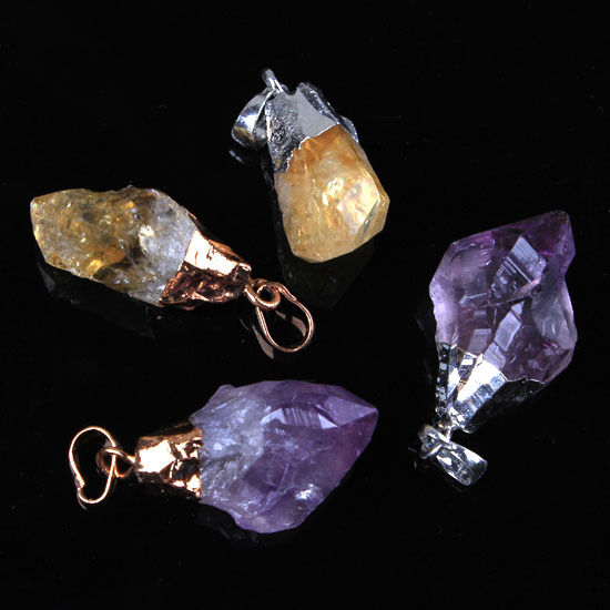 Natural Durzy Amethyst/Yellow Quartz Crystal Stone Random Form Pendant Jewelry