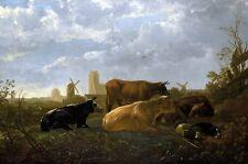 Die Kleine Dirt Landschaft mit Vieh, Windmühle und Hund Canvas Bild Drucken