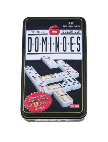 Double 6 Color Dot Domino 28pc Set in Tin Box