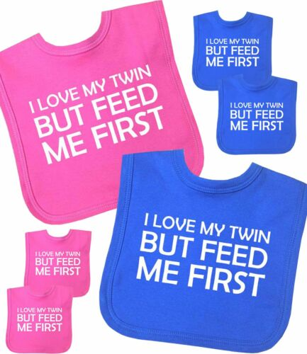 FEED ME FIRST Novelty Baby Clothes Shower Gifts BabyPrem Baby Bibs TWINS