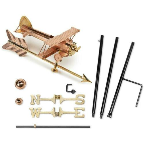 Good Directions Small Biplane with Arrow Weather Vane Garden Pole // Polished Co