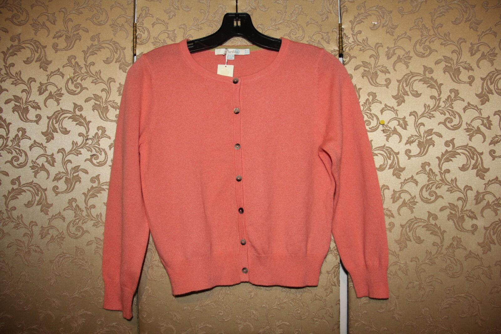 Boden NWT Peach orange 100% Cashmere Cropped Spring Cardigan Sweater 6