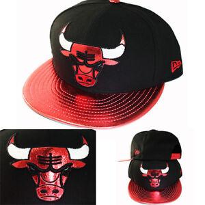 New-Era-NBA-Chicago-Bulls-Snapback-Cappello-con-Rosso-Lucido-Lucidati-Logo-amp