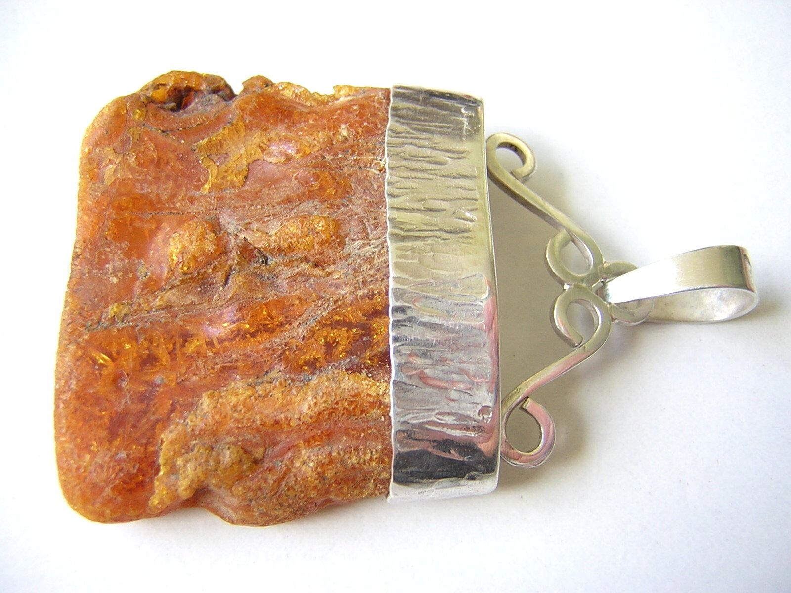 XL Roh Bernstein Charivari silver Anhänger Amber 12,5 g Juwelier-Handarbeit