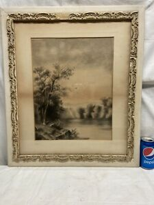 Vtg Watercolor Original? Artist Framed Picture Trees Waterfall Bird Stream scene