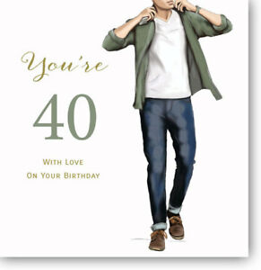 Image Is Loading LARGE Happy 40th Birthday Greeting Card For Men