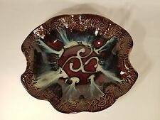 """Handcrafted Glazed Pottery Large Bowl by HILBORN POTTERY Canada 15"""" x 14"""" x 3"""""""