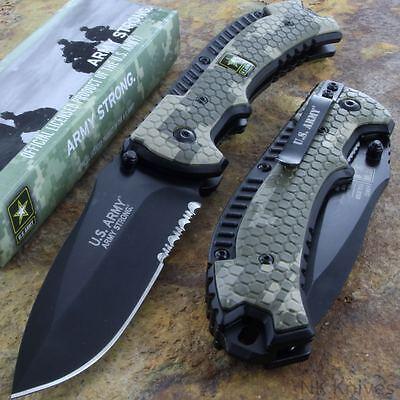 US ARMY Framelock Pocket Assisted Rescue Knife Speedster Steel Blade Camo Handle