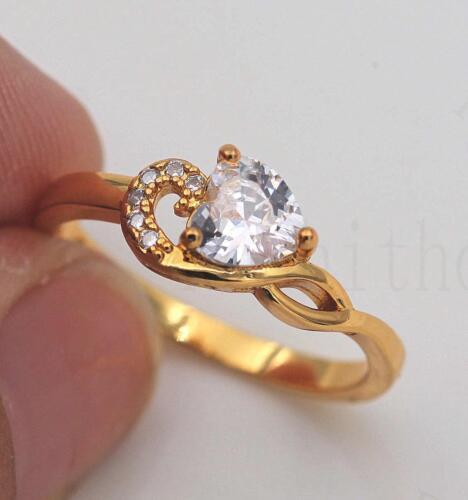 18K or jaune rempli promesse Claw Ring Clear Cœur Zircons Tourbillon Taille 6-9 Lady