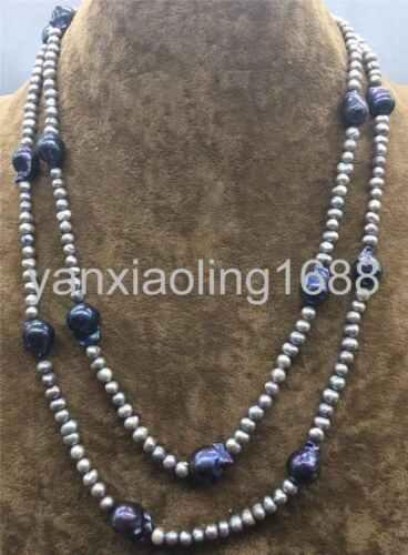 "Natural Freshwater Baroque Keshi Reborn Pearl Station Necklace Long 48/"""