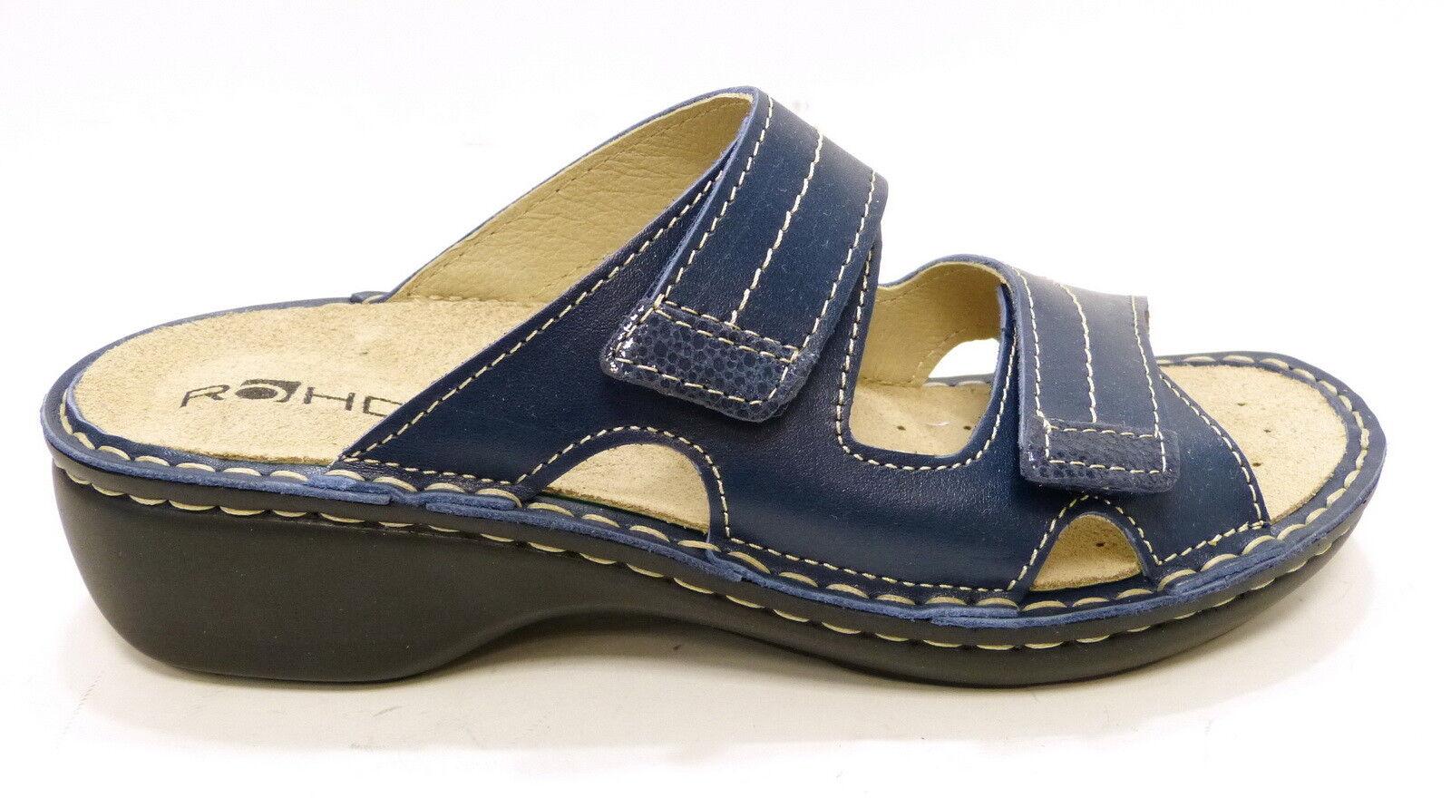 Rohde Pantolette blau Schlappe Weichbett loses Fußbett 5777 50 blau Pantolette Klettverschluß f67e97