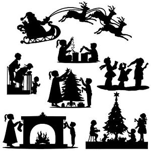 Christmas Silhouette.Details About Die Cut Outs Silhouette Shapes Christmas Xmas Toppers Set Card Making Scrapbook