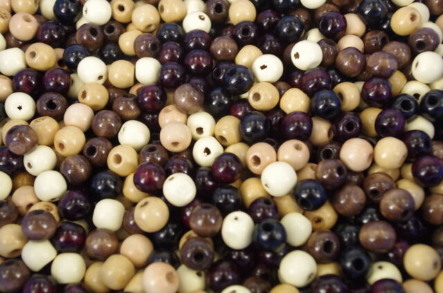 50 x brown and black Mixed 12mm  Wood Craft Wooden Round beads W230