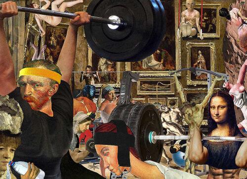 Barry Kite Pumping Oil Humor Funny Van Gogh Mona Lisa Weight Print Poster 18x24