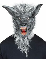 Gray Werewolf Mask Realistic Faux Fur Mens Adult Size Resin Fangs Were Wolf NEW