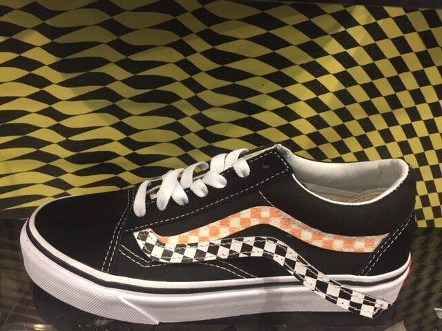 Vans Old Skool Velcro Stripe Sidestripe V V V Black White Checker Removable Sz 4-13 397199