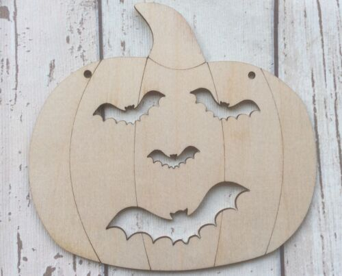 1 or 2 holes Pack of 3 large wood pumpkin heads scary bat features Halloween 0