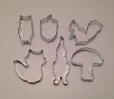 Woodland Cookie Cutters, Set 0f 6 -Squirrel, Acorn, Owl, Gnome, Fox, Mushroom