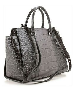 5319f171b42f Michael Kors Selma Large Handbag in GREY Croco Satchel Purse ...