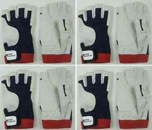 2 Paar BluePort Segelhandschuhe aus Rindsleder Gr M fingerlos Roadiehandschuhe Handschuhe