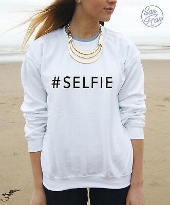 * #SELFIE Jumper Sweater Sweatshirt Top Hashtag Selfie Celfie Slogan Tumblr *