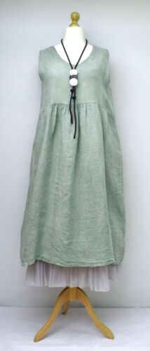"LAGENLOOK LINEN OVERSIZED PLAIN 2 POCKETS LONG DRESS**MINT**BUST UP TO 46/"" ITALY"