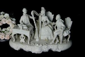 XL-German-antique-UNTERWEISSBACH-marked-Bisque-porcelain-group-musicians
