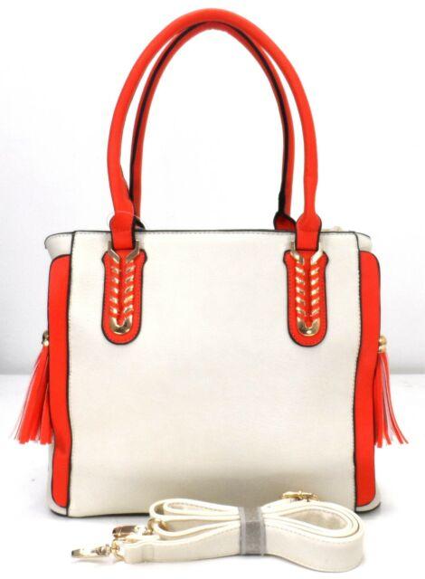 New  Ladies Womans Summer Beige Orange Tassel Zipped Shoulder Handbag UK Seller