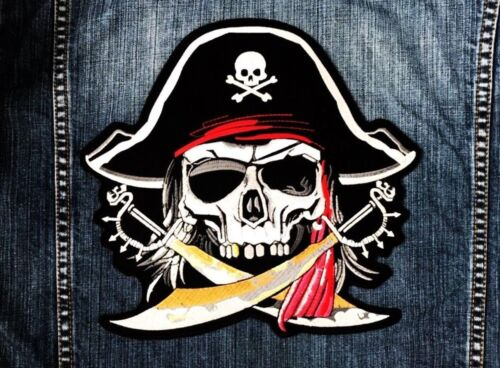 LARGE SIZE Pirate Skull Captain Ghost Cross Swords Embroidered Sew Iron on Patch
