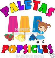 Paletas Popsicles Popsicle Fruit Concession Cart Food Truck Van Decal 24 Menu