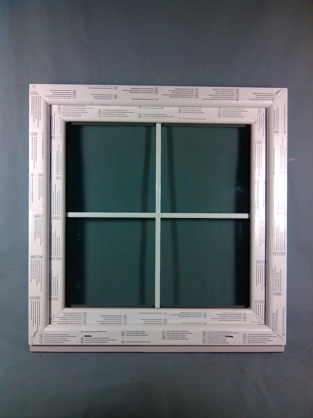 Kunststofffenster Fenster Salamander, 90x90 cm, weiß, innenliegende Sprossen