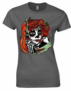 Sugar-Skull-Gun-Doll-Tattoos-Alt-Dia-Los-Muertos-Halloween-Ladies-T-Shirt-AH81