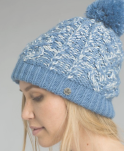 PrAna Women's Felicity Beanie Solid Pom Cold Weather Hats Steel bluee One Size