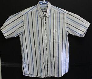 Chemise-LACOSTE-Mens-Vintage-Blue-Short-Sleeve-Plaid-Shirt-Size-Large-EUC