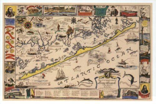 Modern Postcard Long Beach Island Map New Jersey Atlantic Ocean Ships Fish etc