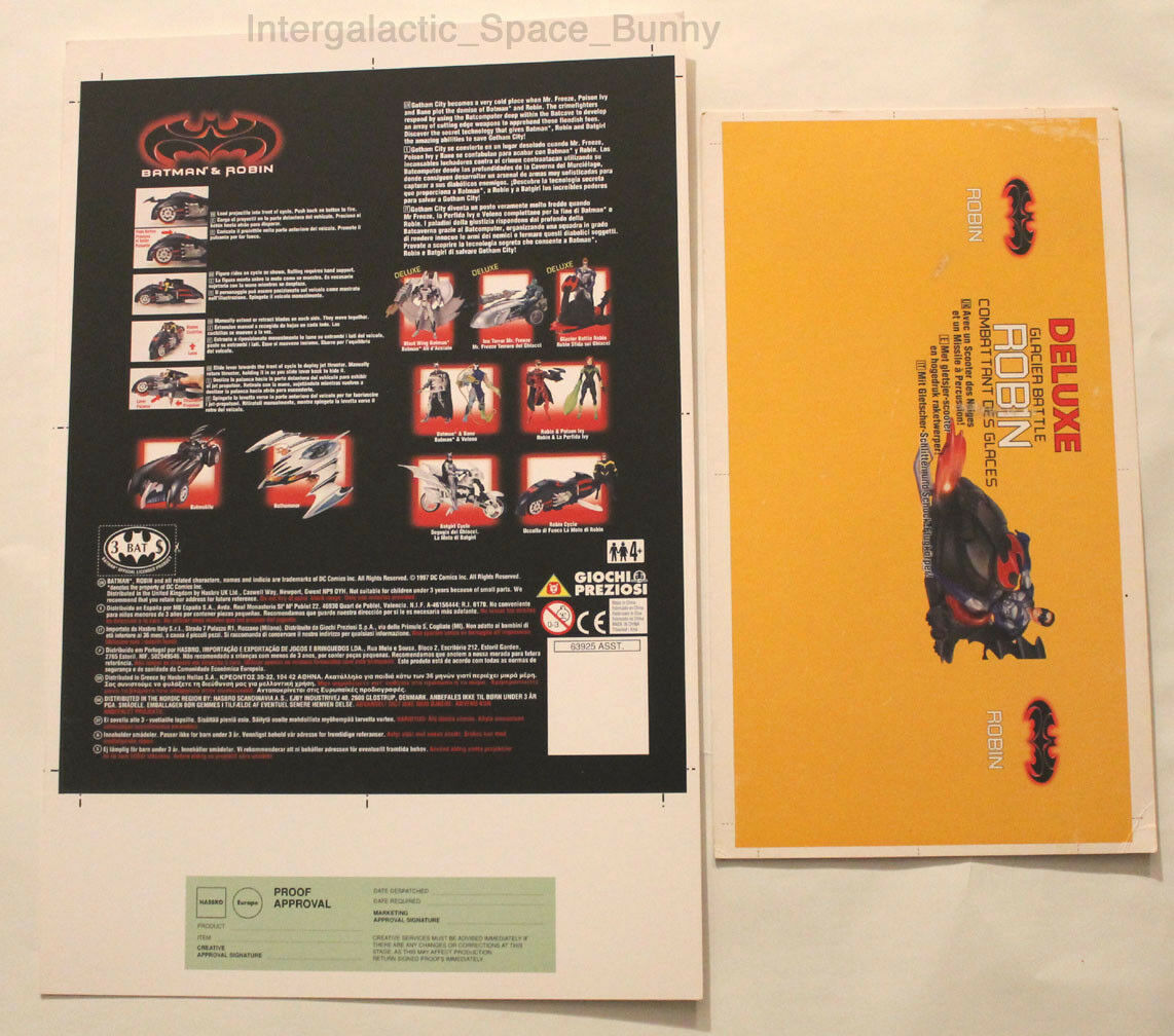 1997 Kenner Batman & Robin Deluxe Robin Proof Card Set Prototype Pre-Production