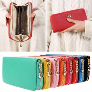 Women-039-s-Leather-Zipper-Clutch-Long-Wallet-Multi-Function-Wristlet-Phone-Bag