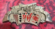 CROSSED REVOLVER BELT BUCKLE NEW GAMBLING STRAIGHT