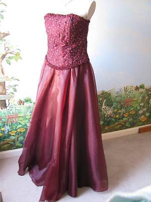 Victory Collection Plum Evening Strapless Vintage Organza Dress Size Large