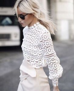 White-Lace-Amy-Portrait-People-Blouse-Top-S-M-L-US-0-2-4-Free-Self-shipping