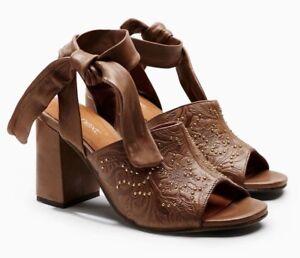 NEXT-Women-039-s-Tan-Tool-Stud-Embossed-Leather-Heeled-Sandals-UK-6-EU-39-rrp-50