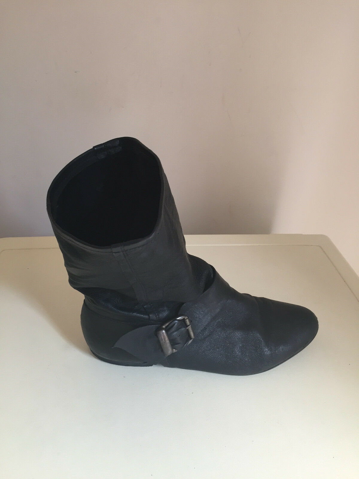 WOMEN TOPSHOP ANKLE BLACK SOFT LEATHER BOOTS SIZE 6