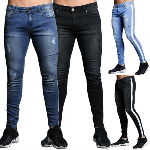 Men Slim Fit Skinny Jeans Denim Pants Elastic Casual Sport Jogger Biker Trousers