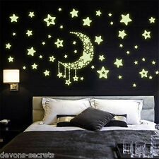 Wall decal stickers kids girls boys star moon night  glow in dark playroom DC32