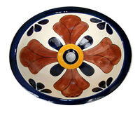 #043) MEDIUM 17x14 MEXICAN BATHROOM SINK CERAMIC DROP IN UNDERMOUNT BASIN
