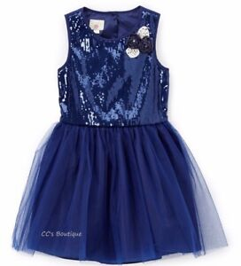 Girls-MARMELLATA-navy-blue-sequin-dress-8-10-12-NWT-tutu-tulle-party-bridesmaid