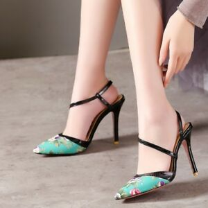 Women-039-s-Shoes-Pumps-High-Heel-Pointed-Toe-Flower-Print-Party-Elegant-Fashion