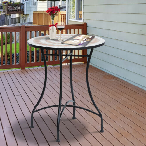 Outsunny Mosaic Table Round Ceramic Bistro Garden Furniture Side Bar Table Patio
